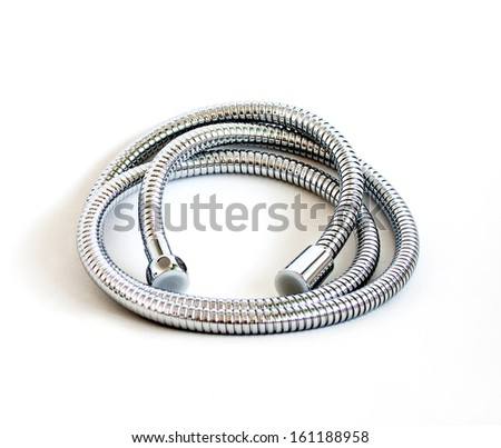 chrome plated shower pipe - stock photo