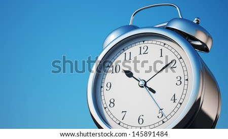 Chrome Shiny Clock with Clipping Path   - stock photo