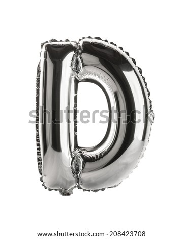 Chrome silver balloon font part of full set upper case letters, D - stock photo