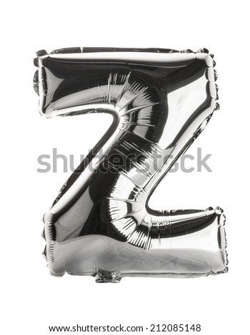 Chrome silver balloon font part of full set upper case letters, Z - stock photo