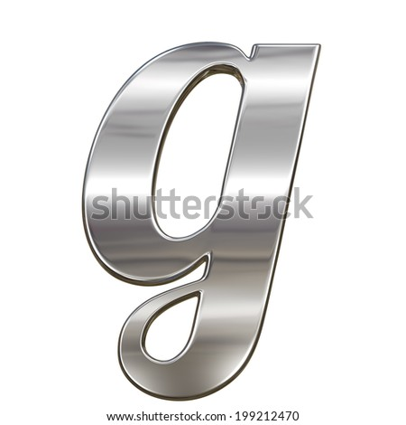 Chrome solid alphabet isolated on white - g lovercase letter - stock photo
