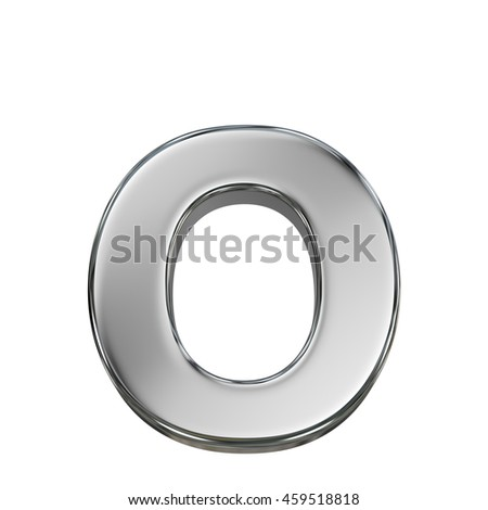 Chrome solid alphabet isolated on white - o lovercase letter