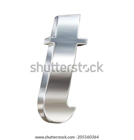 Chrome solid alphabet isolated on white - t lovercase letter - stock photo