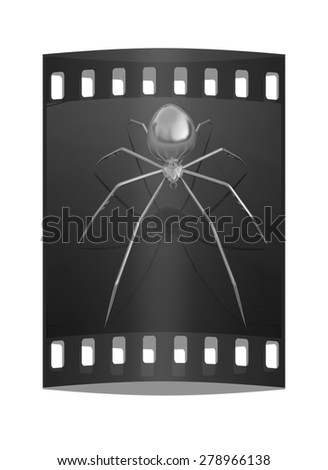 Chrome spider on a white background. The film strip - stock photo