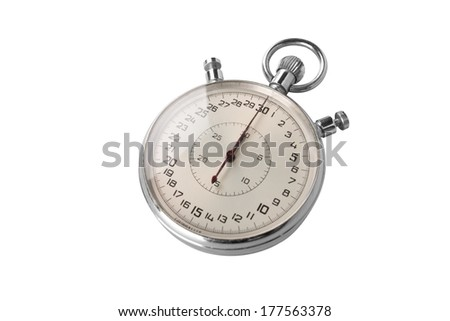 Chrome stopwatch at start position over white background - stock photo