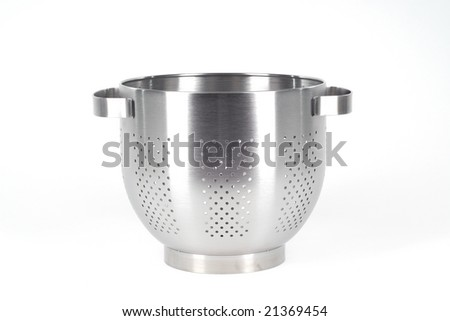 Chrome strainer isolated on white