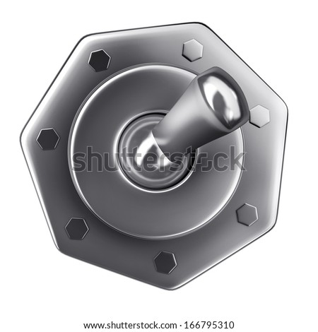 Chrome switch  Isolated on white background High resolution 3d render  - stock photo