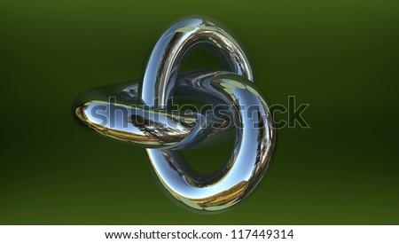 chrome torus knot on dark green background - stock photo