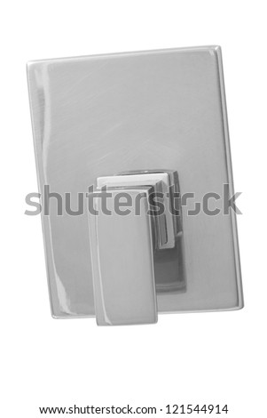 chrome valve isolated on white. - stock photo