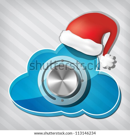 Chrome volume knob on transparency cloud with santa claus hat on a stripped background - stock photo