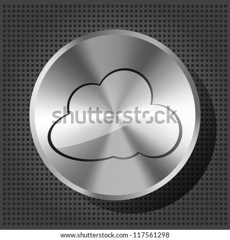 chrome volume knob with cloud icon on the metallic background - stock photo
