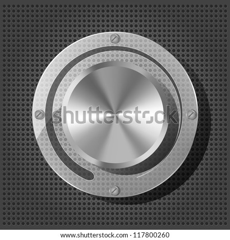 Chrome volume knob with transparency plate on the metallic background