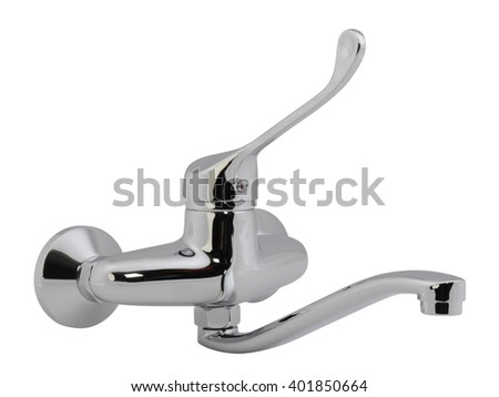 Chrome water faucet mixer isolated on white background