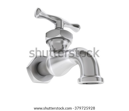 Chrome Water Tap on a white background