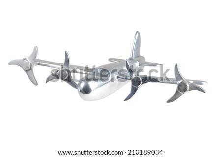 Chromed Airplane on White - stock photo