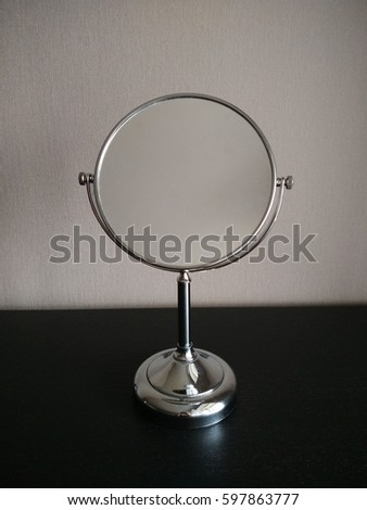 Chromed interior items. Cosmetic makeup mirrors. Female toilet items.