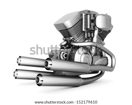 chromed motorcycle engine on a white background