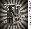 chromed motorcycle engine sepia toned vintage background. high resolution 3d image - stock photo