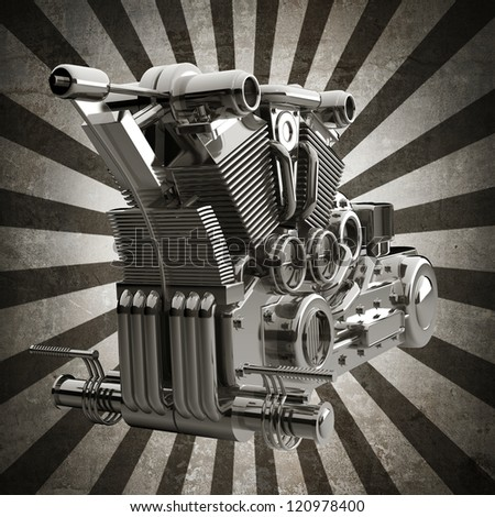 chromed motorcycle engine sepia toned vintage background. high resolution 3d image