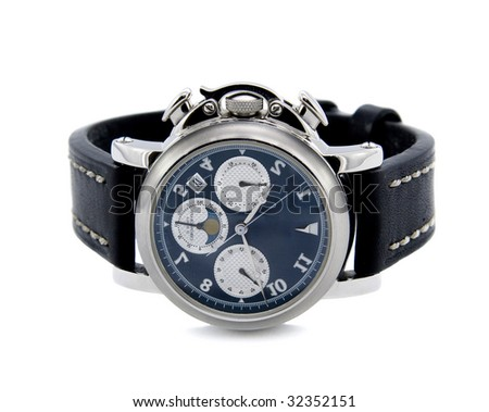 Chronograph watch isolated white background
