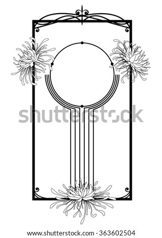 chrysanthemum, floral frame in black and white colors - stock photo