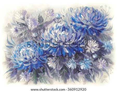 Chrysanthemum flowers on a meadow. Original acrylic hand painting illustration - stock photo