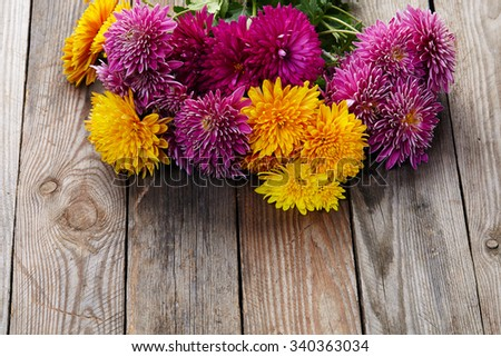 chrysanthemum on old wooden background - stock photo
