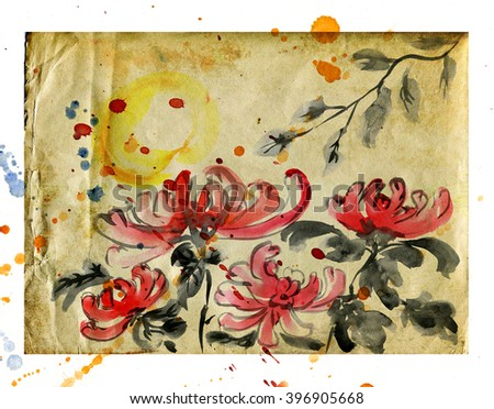 Chrysanthemums in the garden on  Sheet of old paper on a white background with watercolor splashes - stock photo