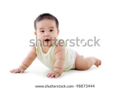 chubby crawling baby - stock photo