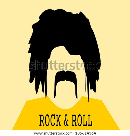chubby man with long hair and bushy mustache wearing rock and roll shirt - stock photo
