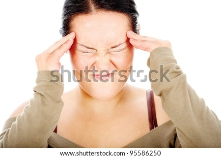 chubby woman have headache, isolated on white