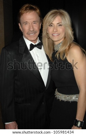 Chuck Norris and wife Gina  at the 17th Annual Movieguide Faith and Values Awards Gala. Beverly Hilton Hotel, Beverly Hills, CA. 02-11-09 - stock photo