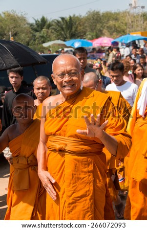 CHUMPON, THAILAND - March 30 : Monk Suthep Thaugsuban exchanges greeting with people on March 30, 2015 in Chumpon, Thailand. He is famous former Thai politician and leader of PDRC