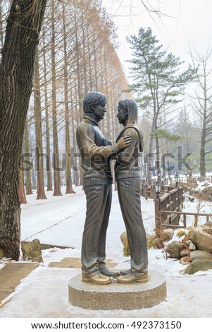 CHUNCHEON, KOREA -DEC 16, 2012: The Winter Sonata statue on Namiseom island, Chuncheon, South Korea. This Korean tv drama filming primarily took place on the resort island of Namiseom.