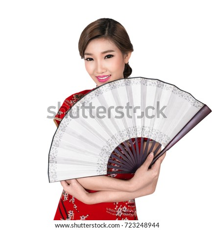 Chunese lady in chinese dress or cheongsam on white isolated background with clipping part