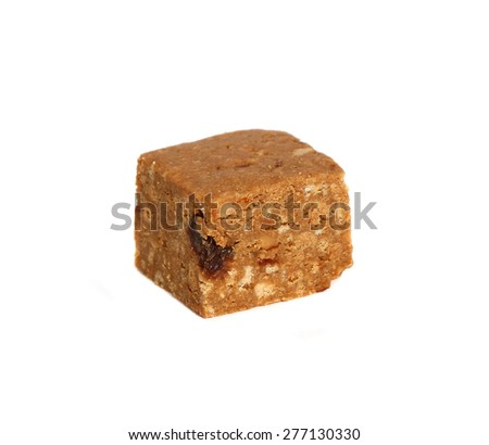 chunk crispy cookies with nuts on white background - stock photo