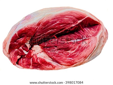 Chunk of fresh pork isolated on white background