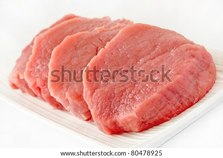 Chunks of beef meat isolated on white background - stock photo