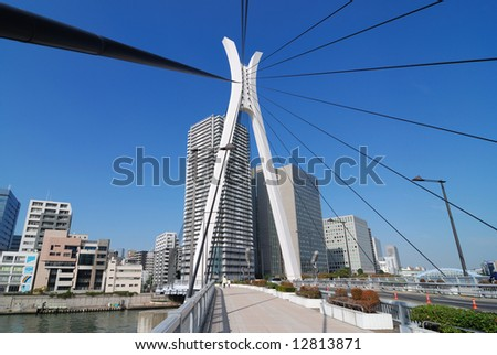 Chuo-Ohashi Bridge in Tokyo, Japan with walking pedestrians - stock photo