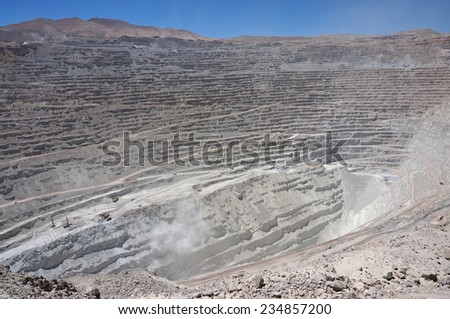 Chuquicamata, the second biggest open pit copper mine in the world, Atacama, Chile - stock photo