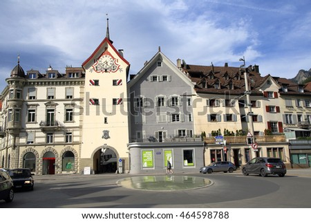 CHUR, SWITZERLAND - NOV 10, 2015: City centre of Chur on Nov 10, 2015 in Chur, Switzerland. Chur is one of the oldest cities in Switzerland.
