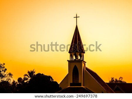 Church against sunset - stock photo