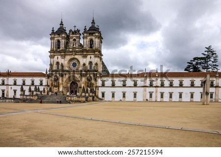 Church Alcobaca Medieval Roman Catholic Monastery, Portugal - stock photo