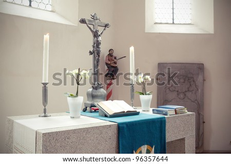 church altar on lent - stock photo