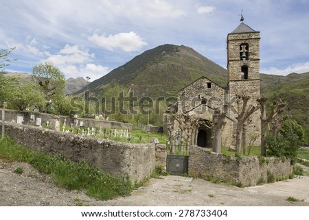 church and cemetry of barruera, Catalonia, Spain. The current structure originated in the Romanesque period - stock photo