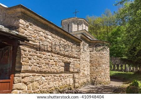 Church and medieval cemetery in Temski monastery St. George, Pirot Region, Republic of Serbia - stock photo