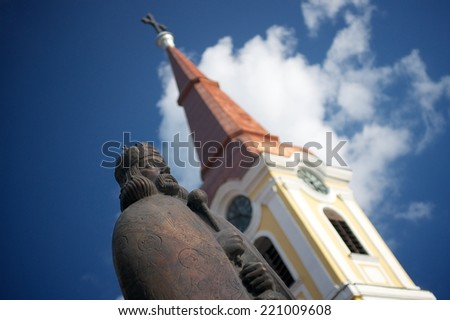Church and monument - stock photo