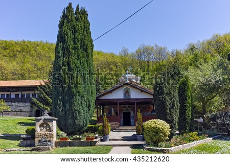 Church and old buildings in Temski monastery St. George, Pirot Region, Republic of Serbia - stock photo