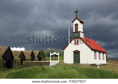 Church and old houses at Keldur farm, Iceland - stock photo