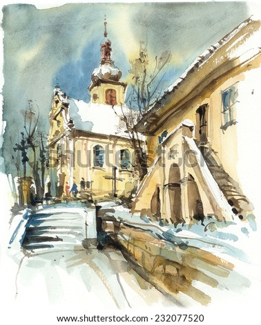 Church and old vicarage in winter, watercolor illustration - stock photo